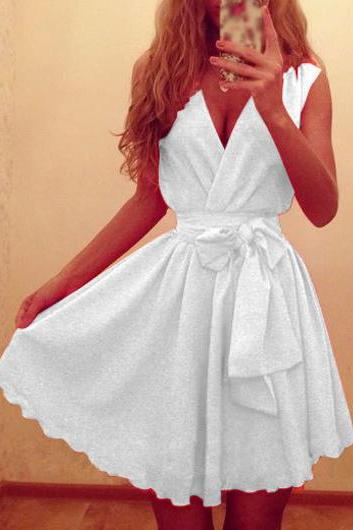 Sexy White Sleeveless V Neck Skater Dress
