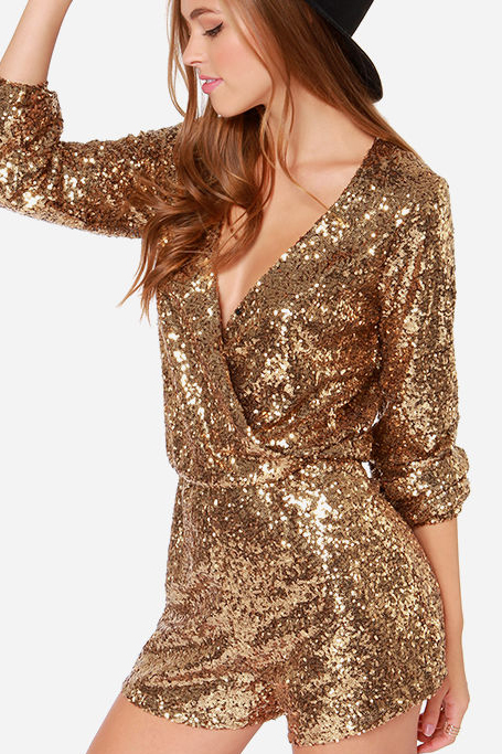 SEXY GOLDEN V SEQUINS DRESS