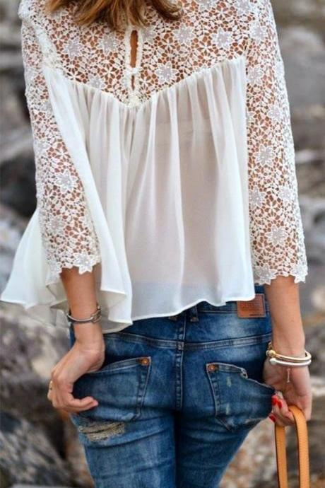 Fashion Chiffon White Lace Shirts