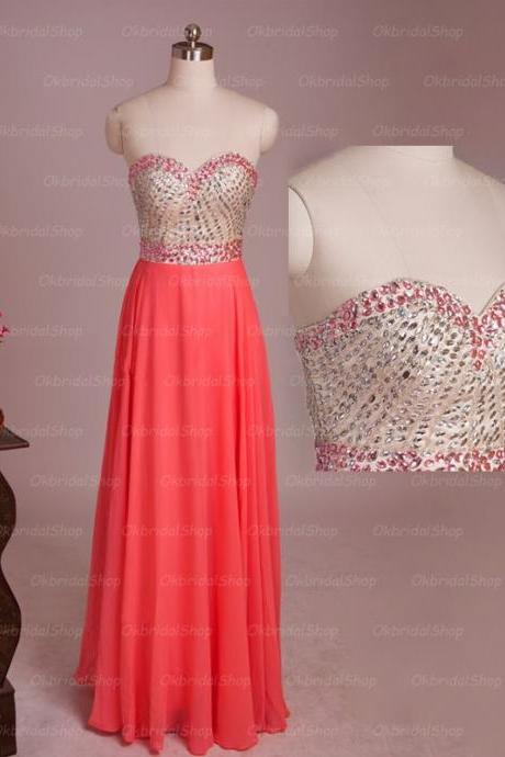 Coral homecoming dress, long prom dresses,chiffon prom dress, unique prom dresses, sexy prom dresses, 2015 prom dresses, popular prom dresses, dresses for prom, CM528