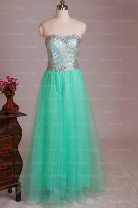 Mint prom dresses, tulle evening dress, A line evening dress, unique prom dresses, sexy prom dresses, 2015 prom dresses, popular prom dresses, dresses for prom, CM534