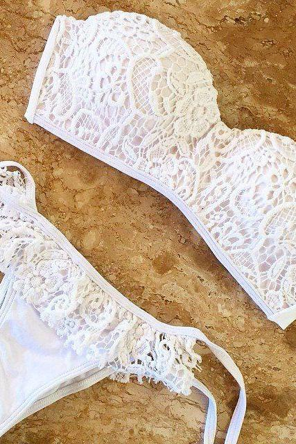 white lace swimsuit