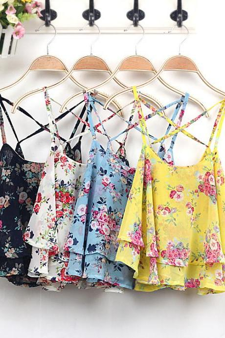 Floral print cross back cami top