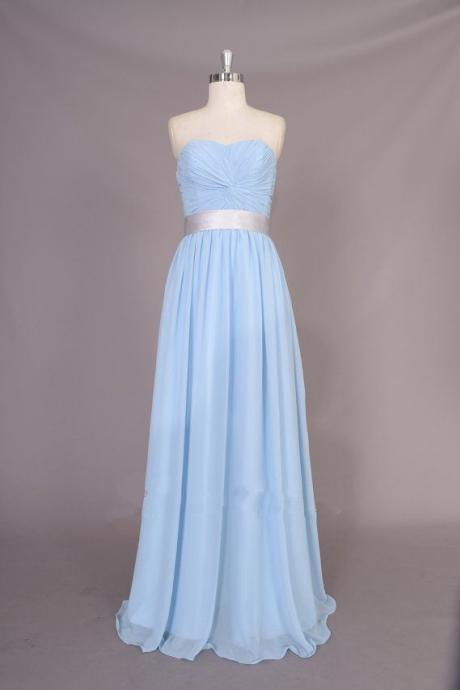 Pretty Simple Light Blue Sweetheart Prom Dresses, Simple Bridesmaid Dresses, Blue Bridesmaid Dresses, Evening Gowns