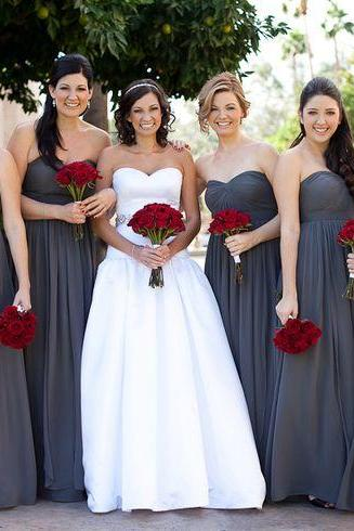 A Line Sweetheart grey Chiffon Long Bridesmaid Dress,Empire Waist Bridesmaid Dress,Cheap Bridesmaid Dresses,Simple Prom Dress, Communion Dress,Graduation Dress,Wedding Party Dress