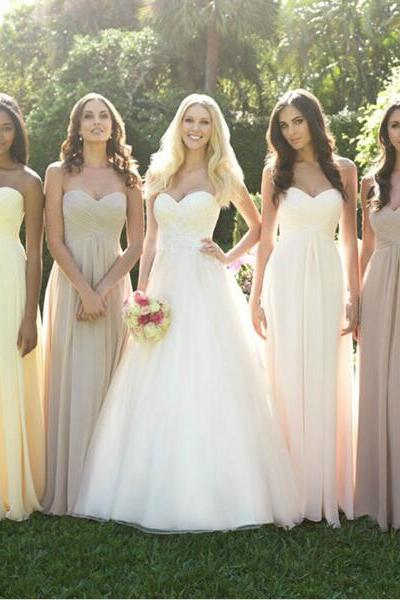 Sweetheart Simple Long Bridesmaid Dresses,A Line Bridesmaid Dress, Cheap Bridesmaid Dress,Empire Waist Prom Dress