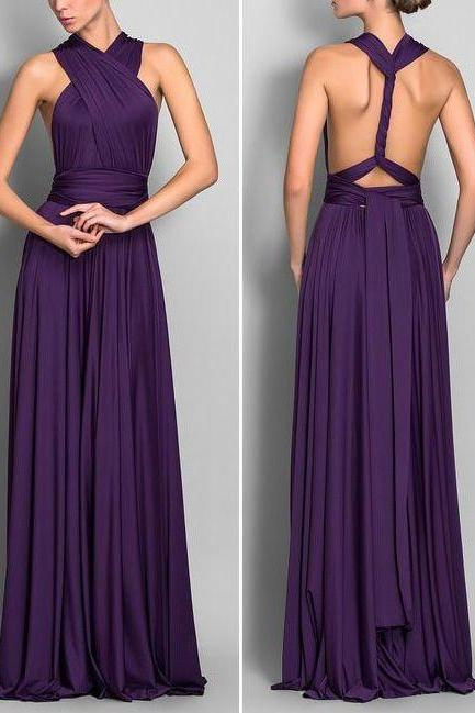 A Line Halter Backless Grape Purple Chiffon Long Bridesmaid Dress, Open Back Dark Purple High Low Bridesmaid Dresses, Cheap Custom Made Prom Gown Dress ,Graduation Dress,Wedding Party Dress