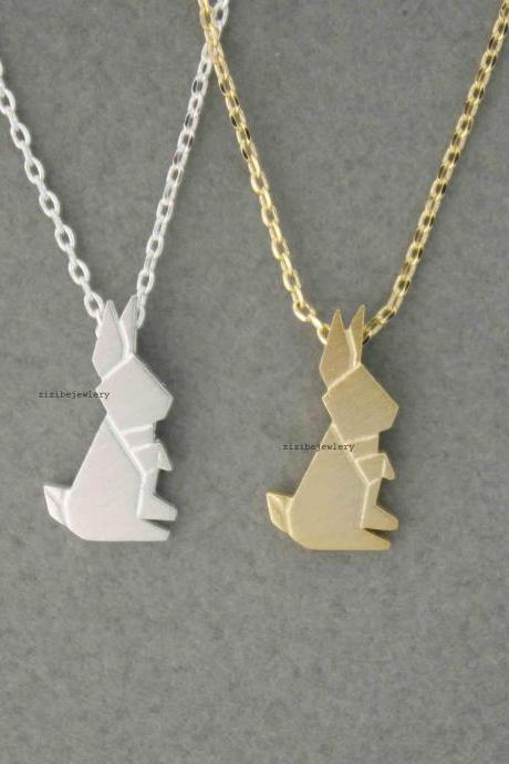 Cute Origami Rabbit Pendant Necklace in 2 colors, N0498G