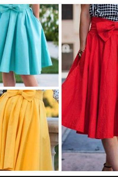 Bow Accent High Rise Knee Length Ruffled Skater Skirt in Red, Yellow or Blue