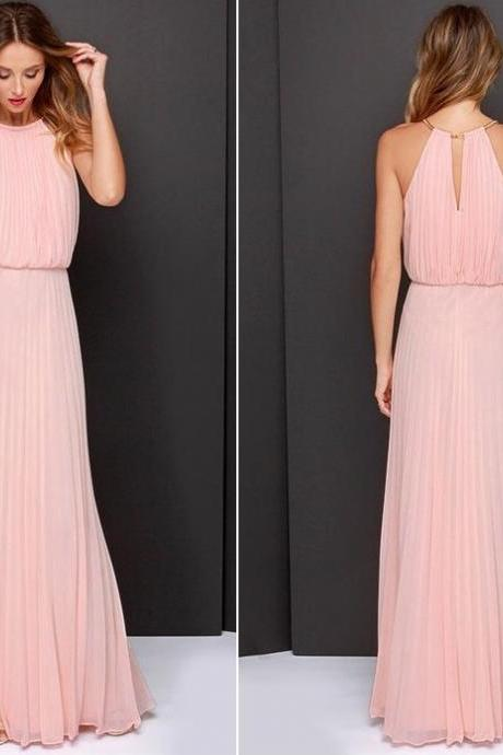 Sexy, Summer Soft Pastel Chiffon Maxi Dress with O-Neck (available in 2 colors) - size S, M, L, XL