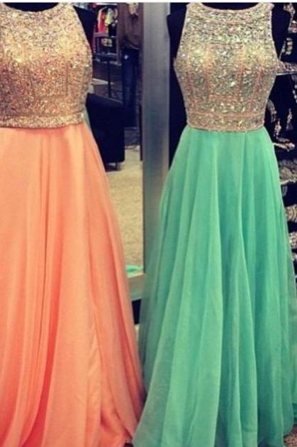 2015 Hot Sale Chiffon Floor Length Prom Gown With Beaded Bodice
