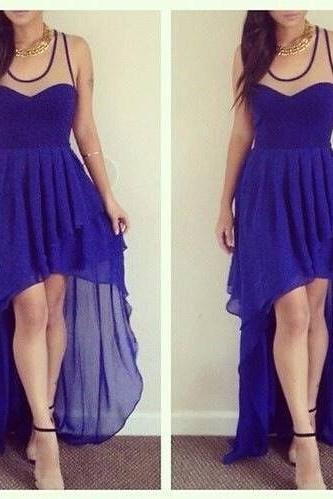 royal blue prom dress, off shoulder prom dress, hi-lo prom dress, simple prom dress, sleeveless prom dress, discount prom dress, BD314