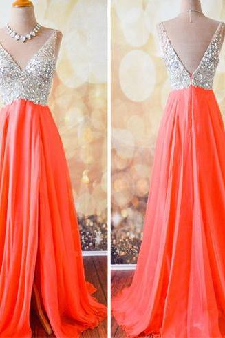 coral prom dress, off shoulder prom dress, modest prom dress, v-neck prom dress, prom dress, gorgeous prom dress, evening dress, formal prom dress, party dress, BD321