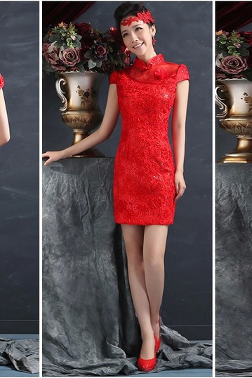 The new red bride qipao Wedding toast embroidery flower brief paragraph improved cheongsam restoring ancient ways YFTK