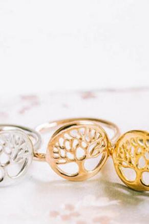 Tree of Life Ring, Tiny Ring, 18k Gold Ring