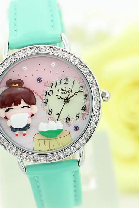 The new MINI brand polymer clay cartoon children watch female table retro fashion ladies watches