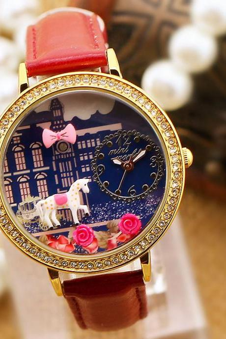 Pink Roses Bow Horse Fairy Tale Girls Watch