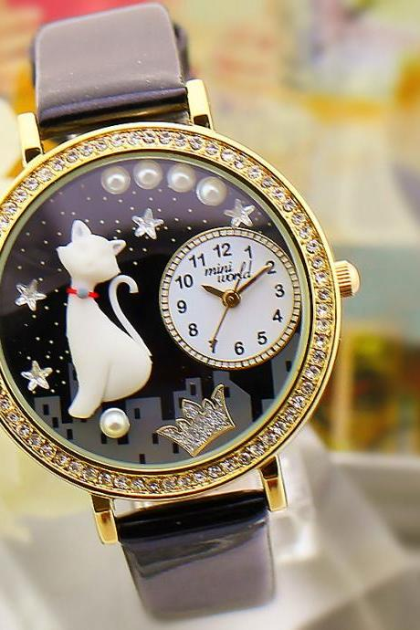 Crystal table space cat cute female watch ladies watches