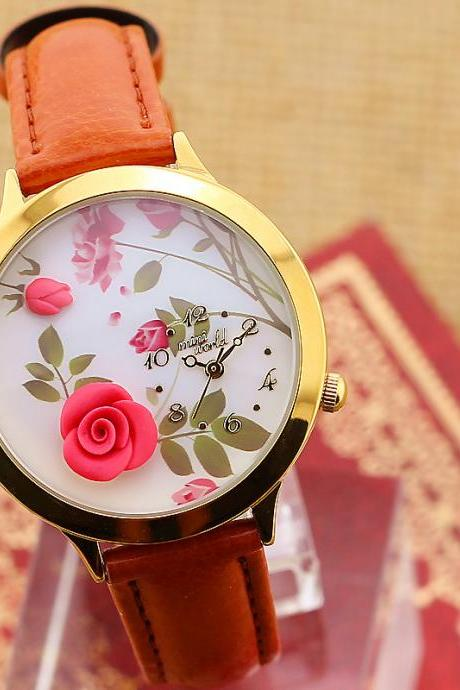Ms. Rose leather handmade clay watch luxury gift watch
