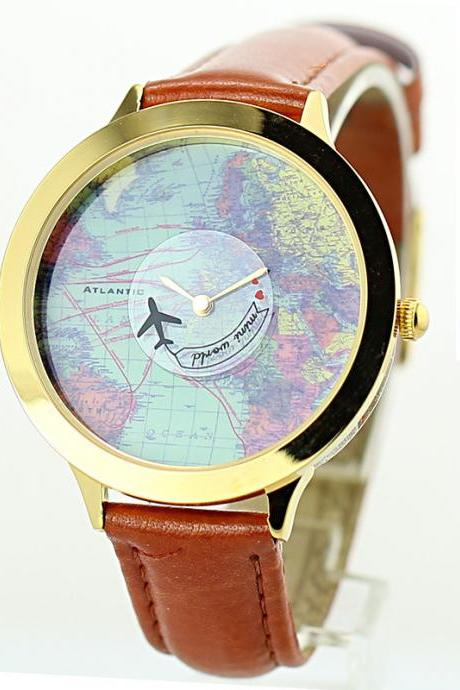 Retro fashion world map Watch
