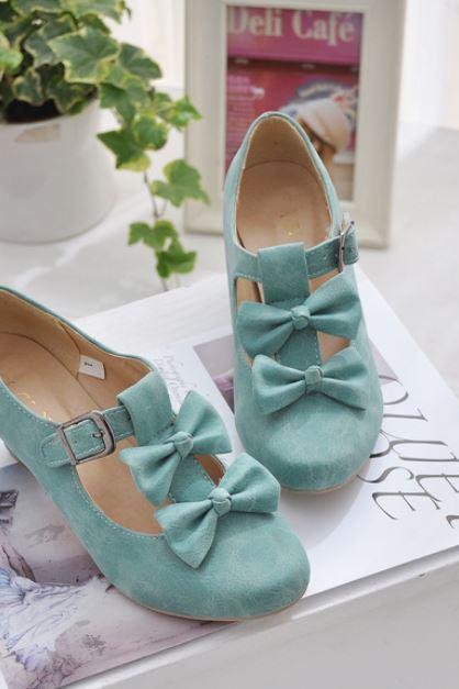 Green Pump Shoes for Women with Bows Mint Green Shoes with Bows