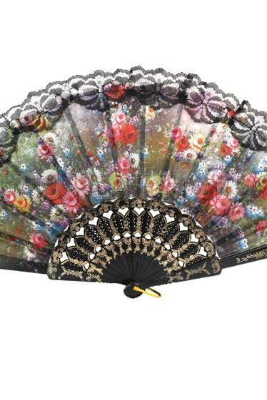 Spanish Flower Floral Hand Fan Fabric Lace Folding Dancing Fans Wedding Party Decor Gifts Fan for Summer