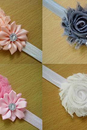 Peach Baby Headwear Children Flower Pearl Headbands for Infant Toddler Girl 10 Pieces Mixed Colors