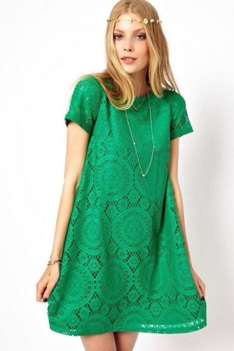 BUD SILK DRESS LOOSE SKIRT WITH SHORT SLEEVES