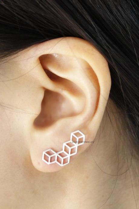3D Cube Squares Ear pin,Ear Crawler,Climber,Ear cuff style Stud Earrings in 2 colors, E0568S