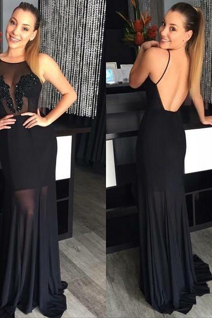 Black Chiffon Sheath Long Formal Gown With Open Back