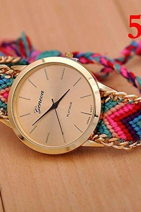 New Gold Dial Thread Knitted Alloy Chain Women Ladies Bracelet Watch Jewelry