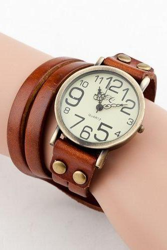 Fashion leather bracelet vintage brown woman watch