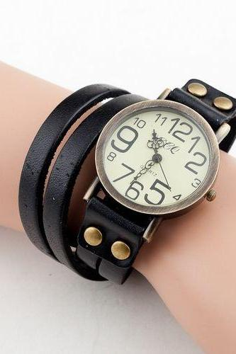 Fashion leather bracelet vintage black woman watch