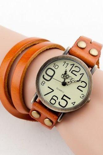 Fashion leather bracelet vintage orange woman watch