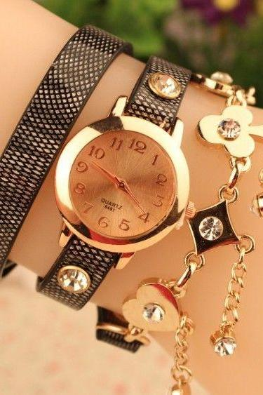 Good luck rhinestones dress fashion black woman watch