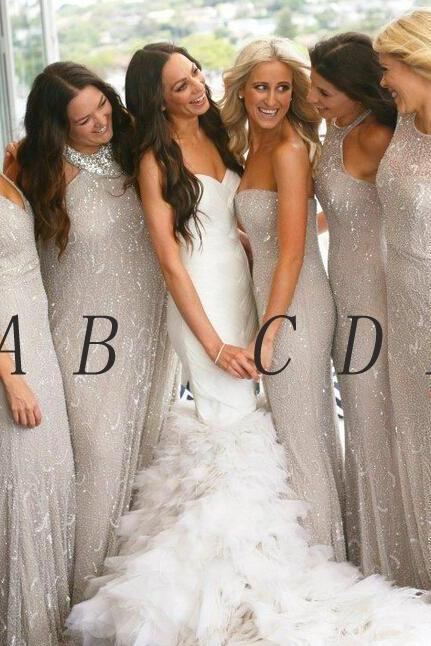 Custom Made Grey Shimmery Floor Length Mismatched Bridesmaid Dress