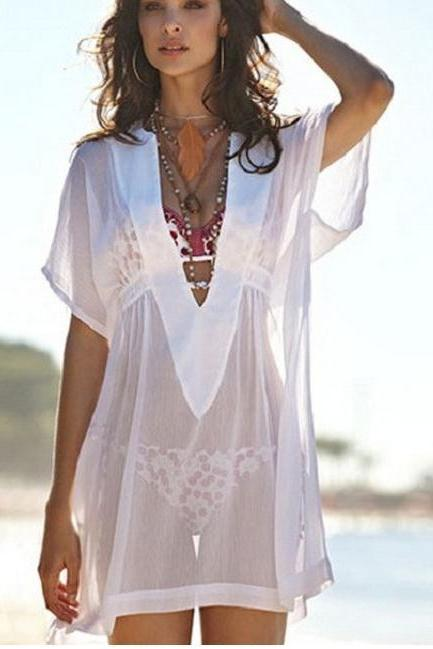 Transparent sexy v-neck white with short sleeves
