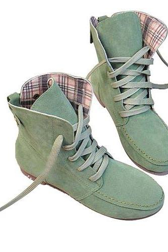Angel Wings Girls Lace up Winter Boots Flat Ankle Shoes