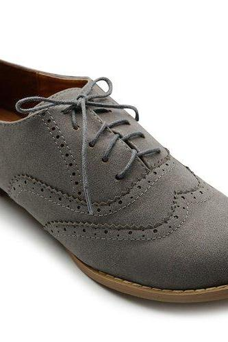 Women's Shoe Ballet Flat Faux Suede Wingtip Lace Up Oxford