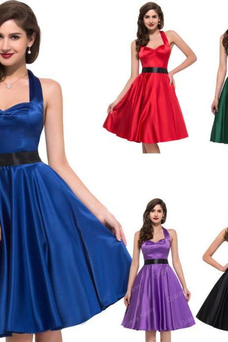 VINTAGE 50'S ROCKABILLY FORMAL PARTY EVENING PROM GOTH PIN UP CIRCLE FLARE DRESS