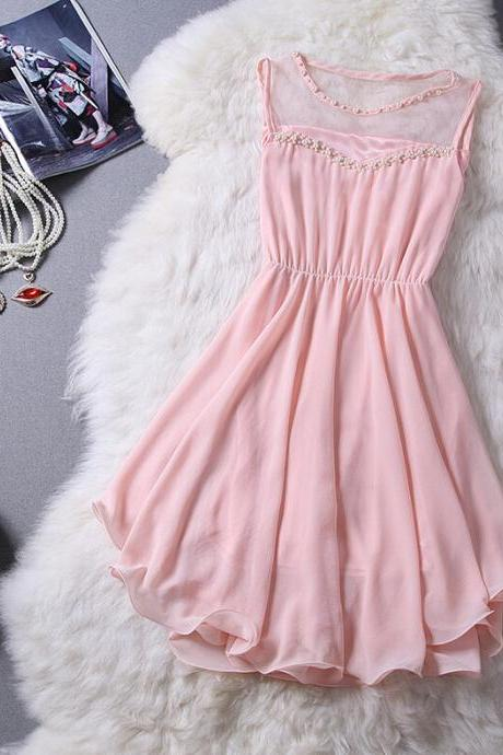 Slim Round Neck Chiffon Princess Dress
