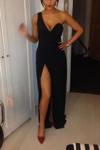 Pretty High Quality One Shoulder Black Slip Sexy Prom Gown, Black Formal Dresses, Evening Dresses, Party Dresses