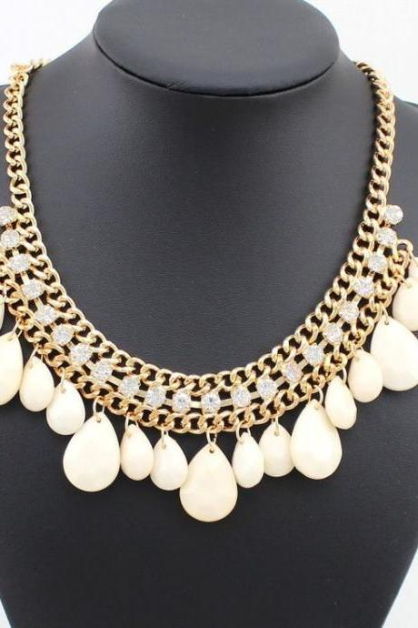 Wedding special evening dress white fashion necklace