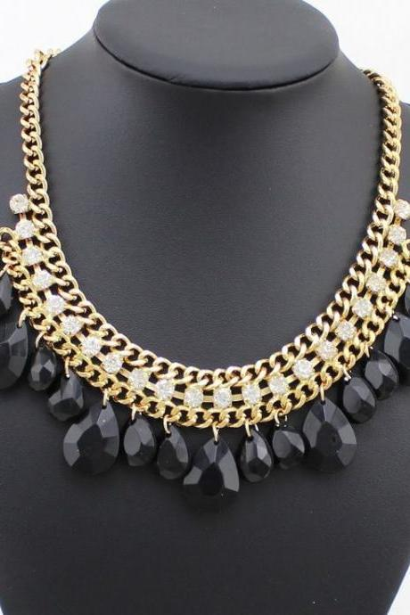 Wedding special evening dress black fashion necklace