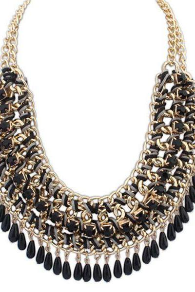 Black Beaded Fringe Multi-Layer Statement Necklace