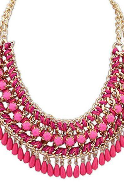 Rain drops statement jewelry purple fashion necklace