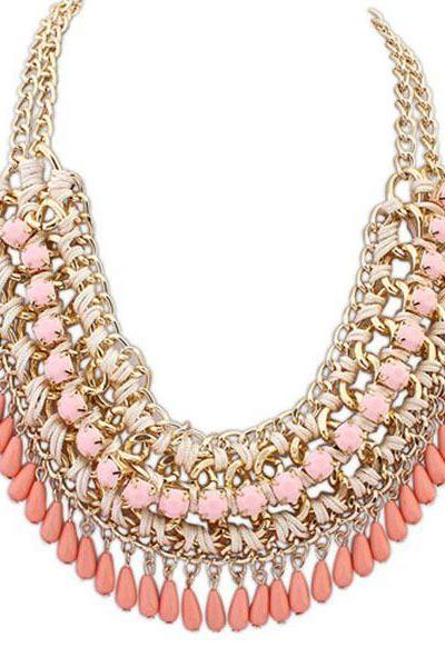 Rain drops statement jewelry pink fashion necklace