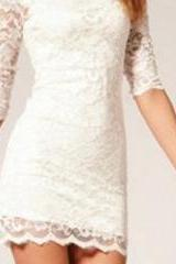 2015 summer fashion White Lace Sexy Through Lace Dress