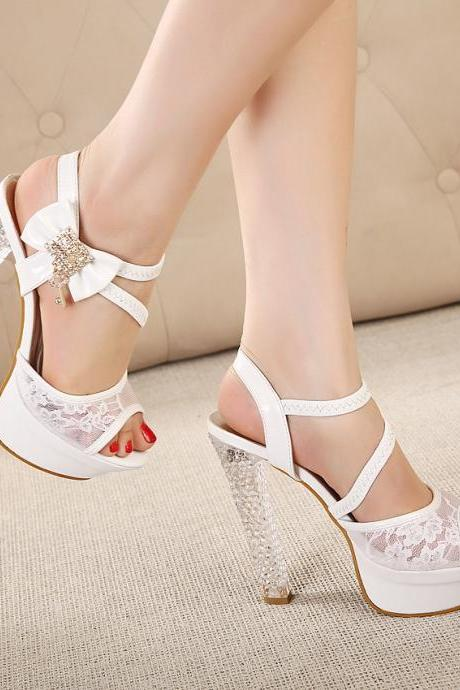 Woman Sandals With Crystal Strap And Chunky Heel