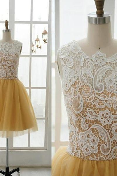 Short LACE Tulle Bridesmaid Dress ivory gold tulle Prom Dress mini Yellow lace evening Graduation homecoming Dresses 2015